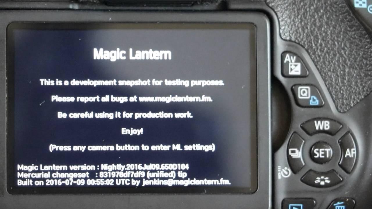 Upgrade Canon DSLR with Magic Lantern