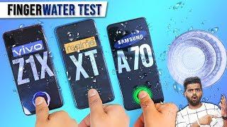 Realme XT vs Vivo Z1x vs Samsung A70 In-Display Fingerprint Sensor Water Test 🌊 पानी में चलेगा?