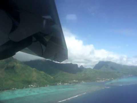 French Polynesia - Raiatea  -Landing at Raiatea Airport Nice Island view