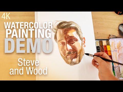 🎨🪑 Demo Aquarelle   Portrait de Steve and wood