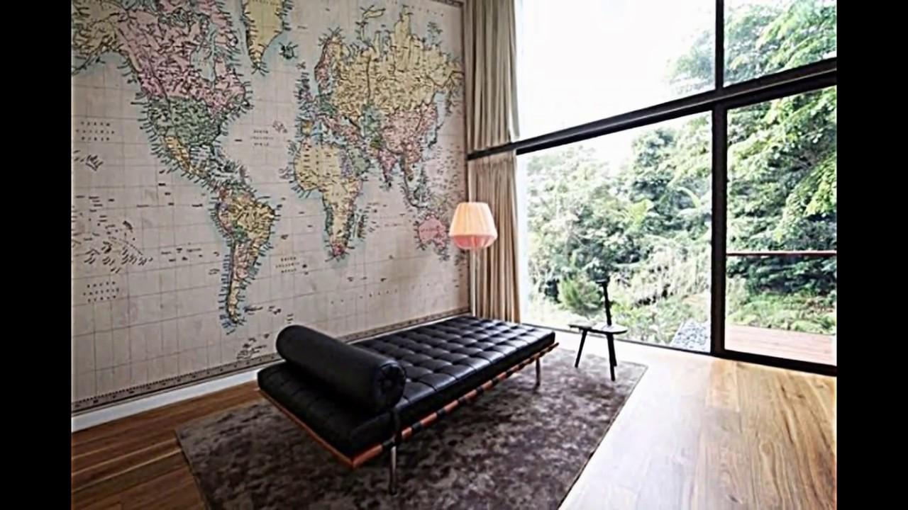 Auf eine Weltreise mit dem Retro Tapeten Design von Pixers gehen ...
