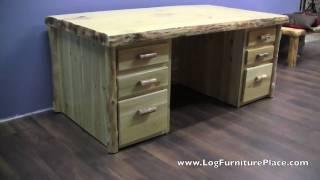 Cedar Lake Executive Log Desk | Rustic Desk From Logfurnitureplace.com