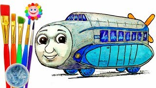Coloring with Thomas the Train | How to Draw Hugo - Educational video Thomas and Friends