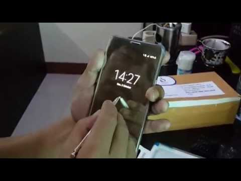 Samsung Galaxy Note 5 Case S-View Clear Flip Cover Folio- Gold Unboxing And Review