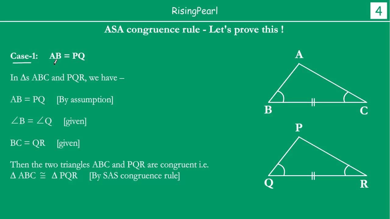 Asa Angle Side Angle Congruence Rule And Proof