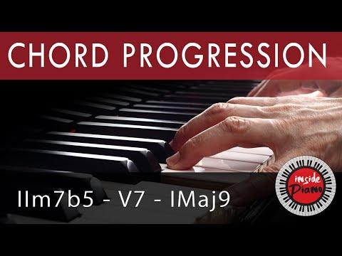 Piano Chords. How to play the piano jazz chord progression IIm7b5-V-I