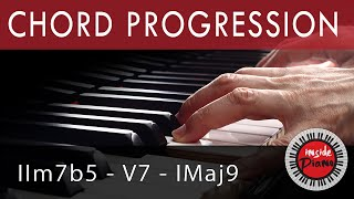 Piano Chords. How to play the piano jazz chord progression IIm7b5-V-I