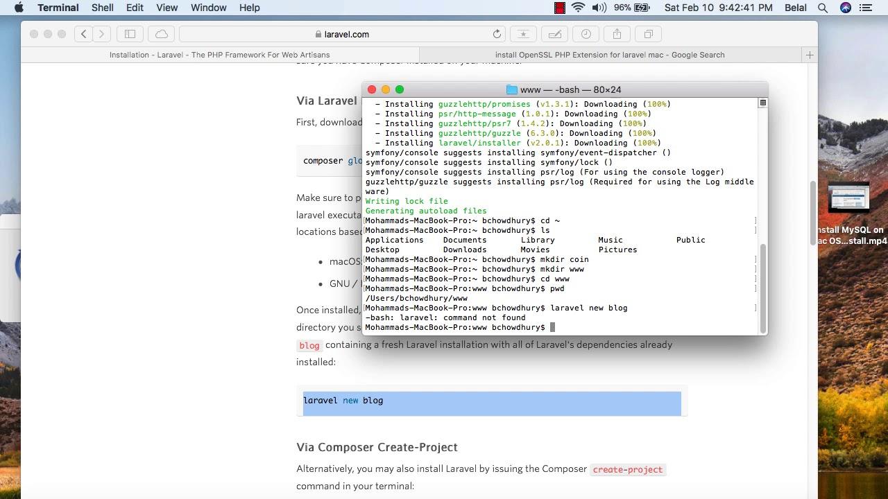 install laravel 5 on mac xampp