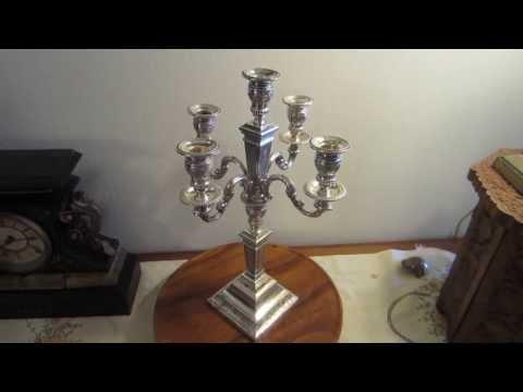 835 Sterling Silver 5 Light Shabbos Candelabra - Circa 1930s