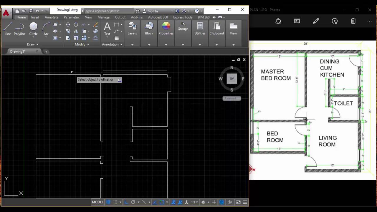 How To Draw A Floor Plan In Autocad Interior Design Tamil