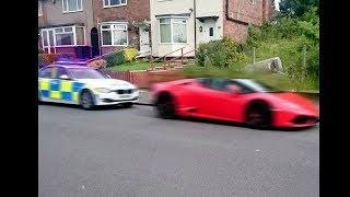 polizia cerca di fermare una lamborghini e...