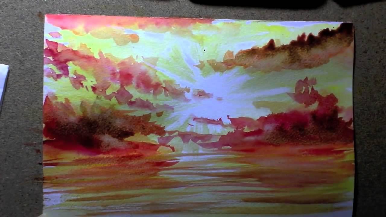 comment faire un coucher de soleil en aquarelle true painting youtube. Black Bedroom Furniture Sets. Home Design Ideas