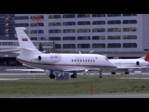 Bulgaria Government Dassault Falcon 2000EX takeoff at Zurich Airport