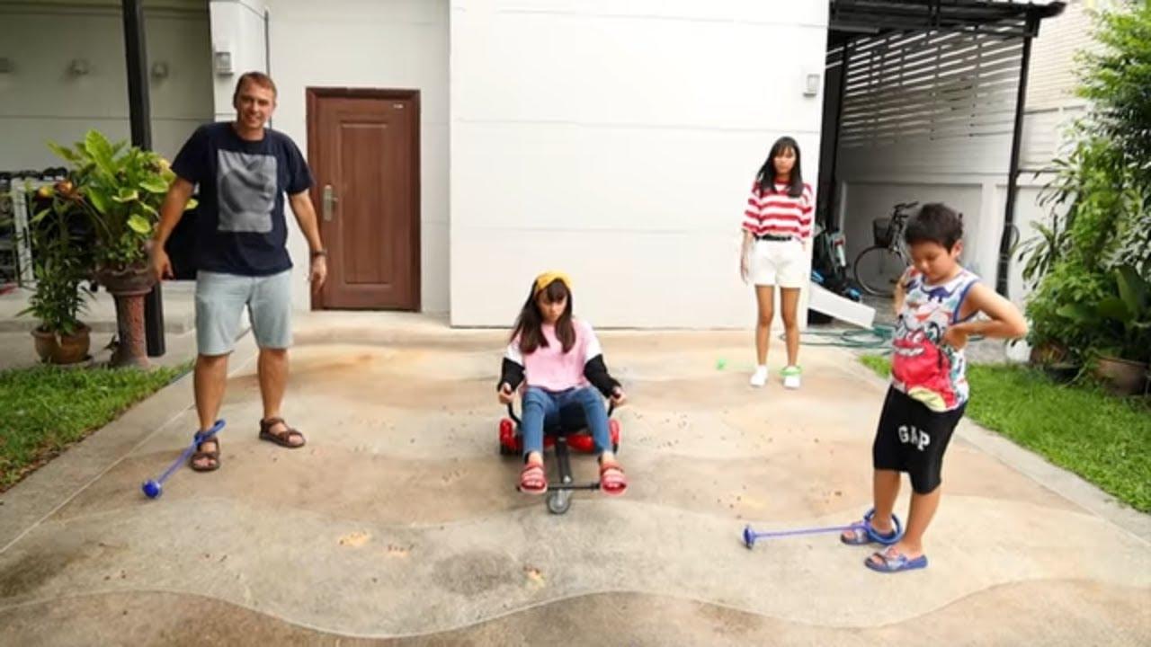 สกายเลอร์ | เล่นห่วงกระโดด vs กระเทียม vs ฮาฟเวอร์บอร์ด กับครอบครัว
