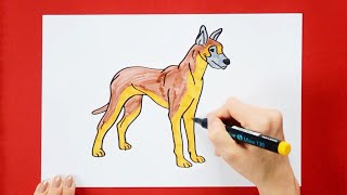 How to draw and color a Great Dane - how to make dogs series