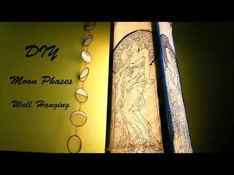 DIY Moon Phases - Wall Hanging - With copper wire & silk thread