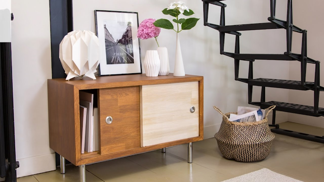 tuto brico fabriquer un buffet style scandinave youtube. Black Bedroom Furniture Sets. Home Design Ideas