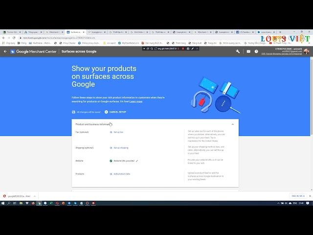 [Louis Việt Ads] Bài 73: Cài Đặt Tài Khoản Merchant Center Để Sử Dụng Google Shopping