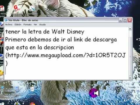 Como tener la letra de Walt Disney