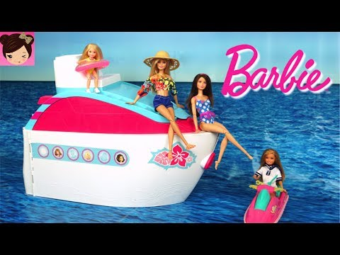 Barbie Pink Cruise Ship Morning Routine - Pool Water Slide Play Toy Video