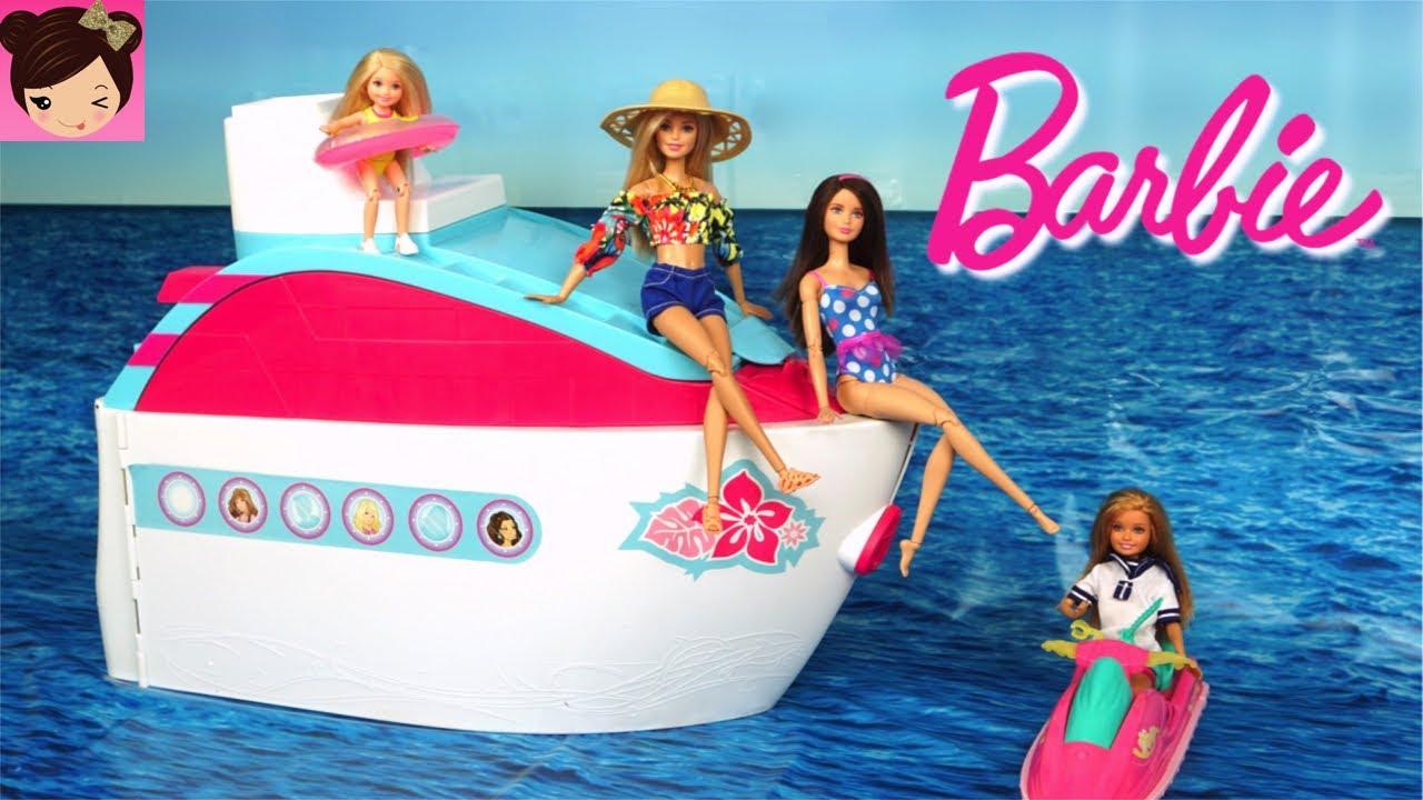 Barbie Pink Cruise Ship Morning Routine Pool Water Slide