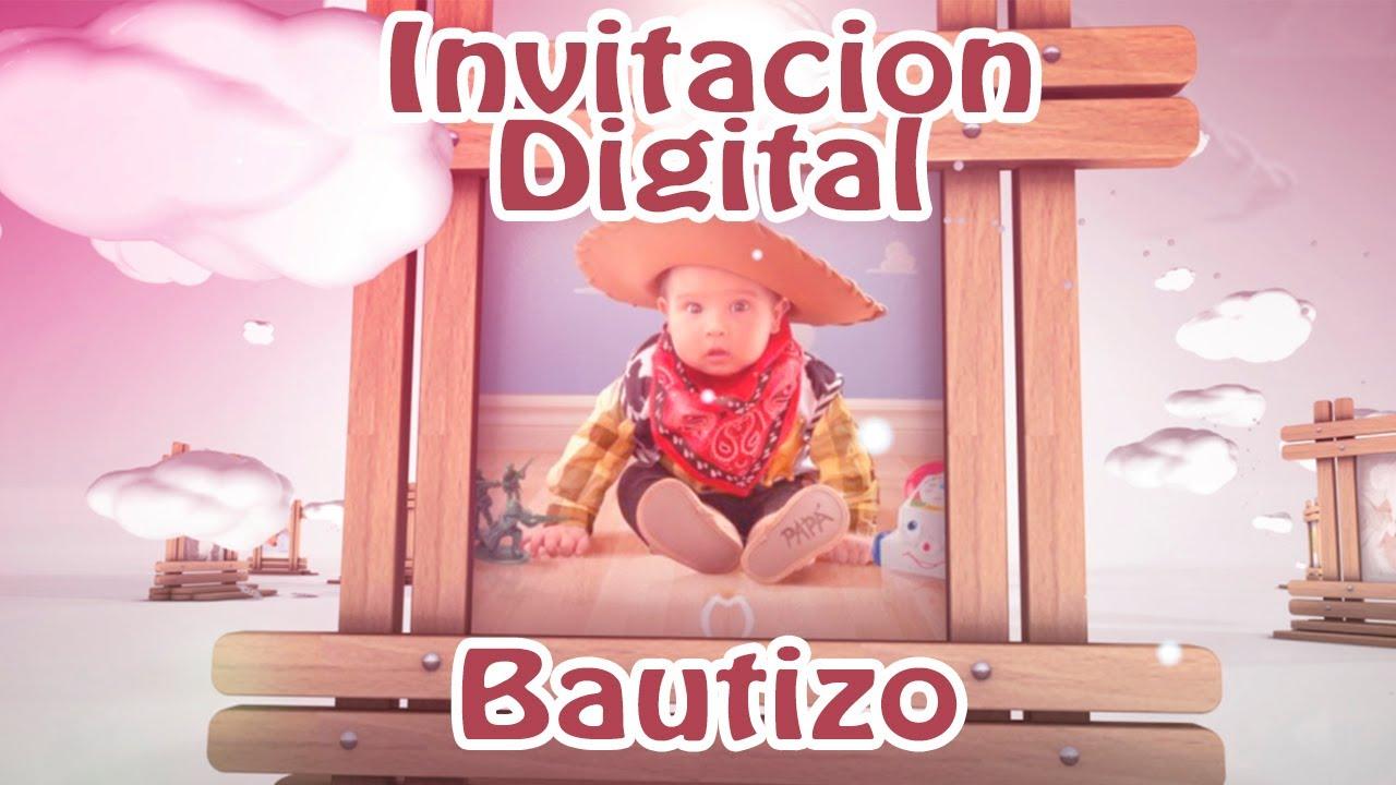 Invitación Virtual Bautizo Nubes