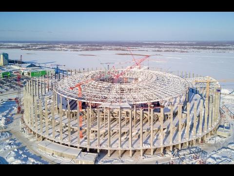 Ход строительства стадиона Нижний Новгород 28/01/2017, аэросъемка Нижний Новгород
