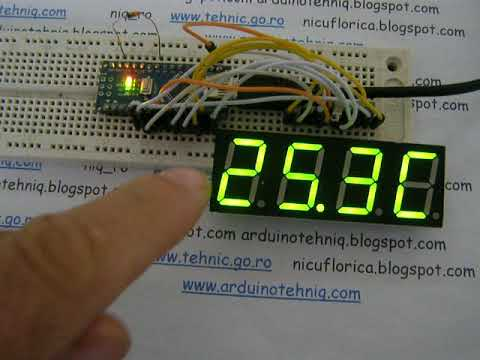 thermometer with 1N4148 diode as sensor on multiplexed led display