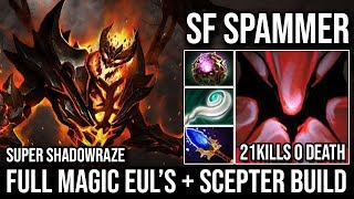 Super Shadowraze - Shadow Fiend Full Magic Eul's Build 21KIlls Immortal By Russian SF Spammer Dota 2