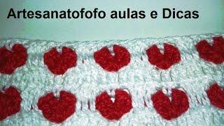 Ponto coração em crochê