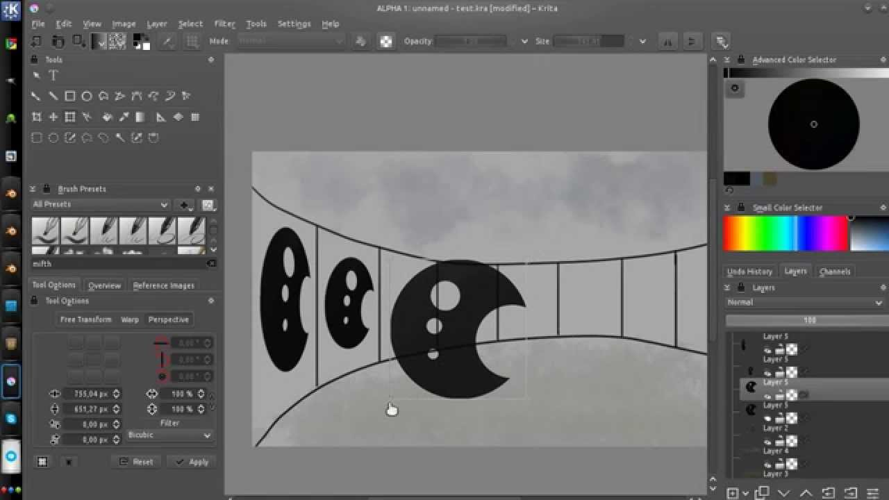 krita 2 9 - new perspective transform tool
