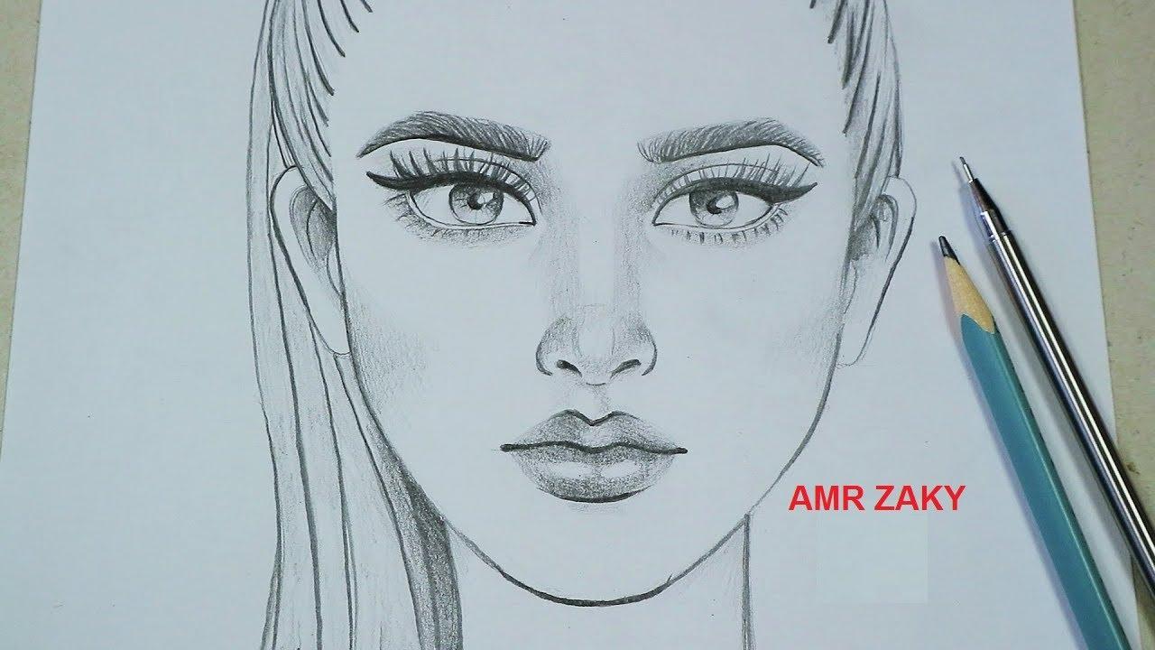 تعلم رسم وجه من الامام خطوة بخطوة تعليم كيفية الرسم بقلم الرصاص