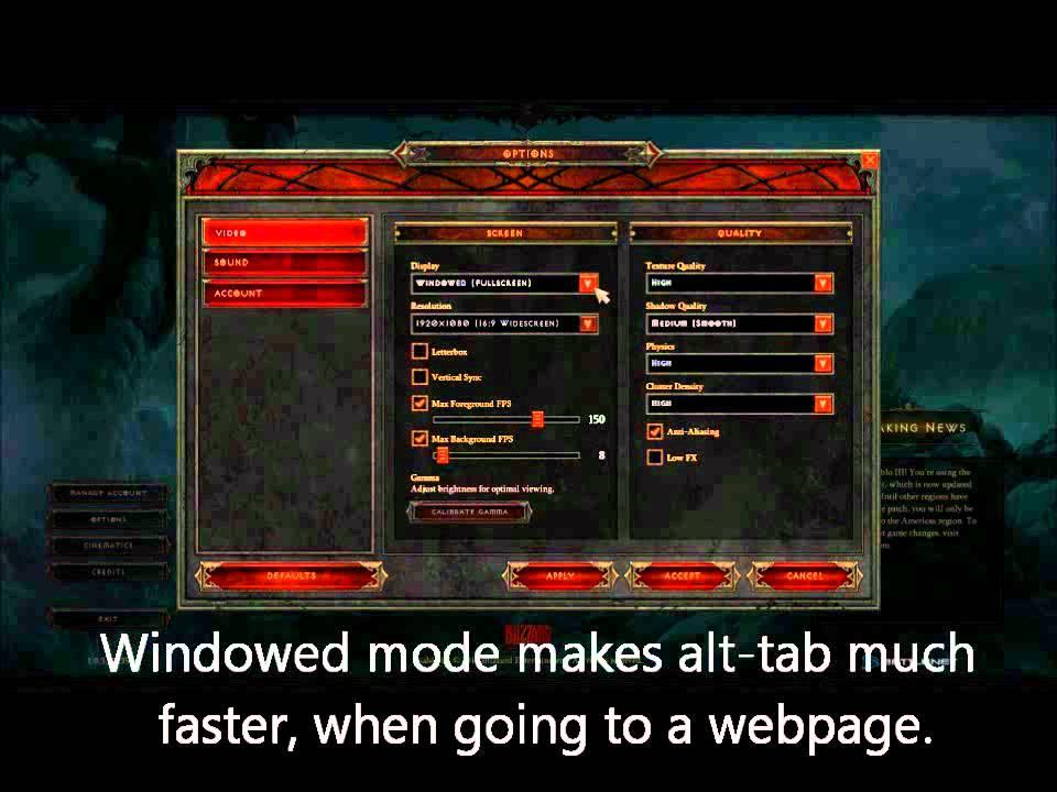 diablo 3 windowed mode
