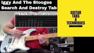 Iggy and The Stooges Search And Destroy Guitar Lesson With Tabs Including Solos Raw Power