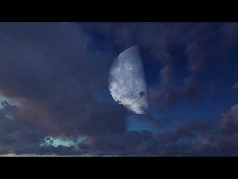 ( CGI 4k Stock Footage )  Halloween Huge Moon Twilight Night Sky Red Purple Clouds Seamless Loop 4