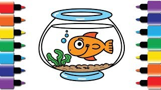 How to draw Fish and Fishbowl - Drawing and Colouring book for kids fun