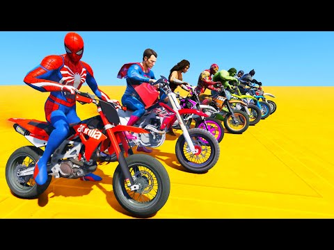 SUPERMOTOS! SPIDER-MAN IRON-MAN BATMAN on Mega Ramp Parkour Challenge - GTA V MODS
