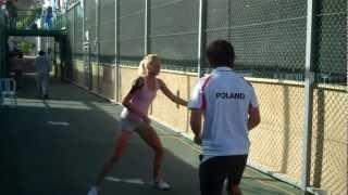 Urszula Radwanska warming up | Official Fed Cup