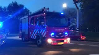 P1 brandweer en politie naar grote brand in dongen