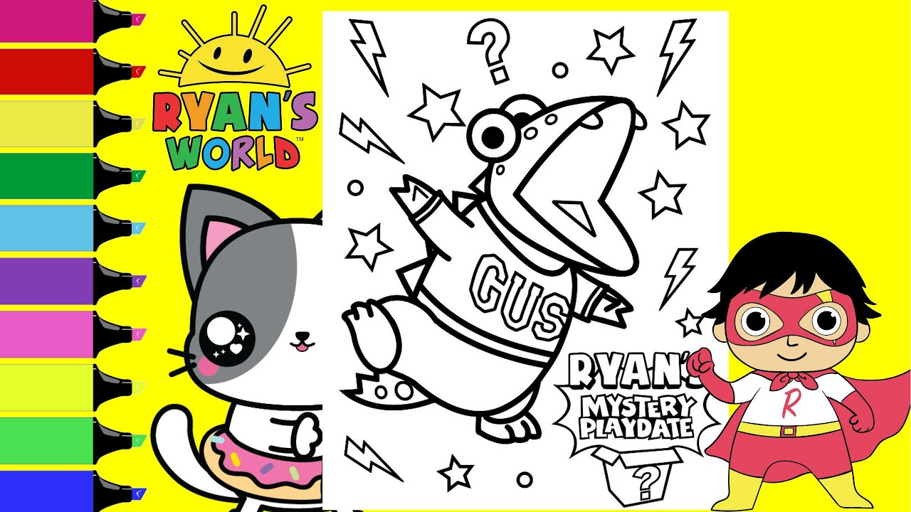 Coloring Ryan S Mystery Playdate Gus Ryan S World Coloring Book Page Sprinkled Donuts Jr Youtube