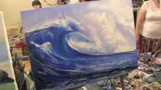 Море, волна маслом, научиться рисовать маслом, Сахаров