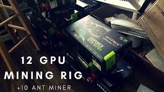 $10K+ Mining Setup (12 GEFORCE GTX 1070 Ti GPU Mining Rig + 10 Ant Miner Rack) Video