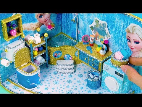 DIY Miniature Dollhouse Bathroom ~ Frozen Elsa Room Decor ~ 10 Minute DIY Doll Crafts #22