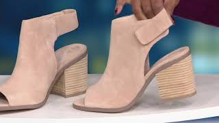 Sole Society Suede Peep-Toe Ankle Booties - Jagger on QVC