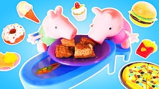 Peppa Pig and junk food. Toy videos.