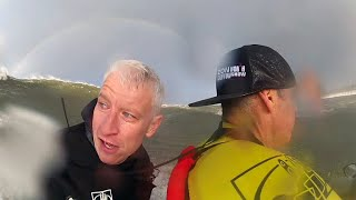 Anderson Cooper hits 30-foot waves for 60 Minutes (sort of)