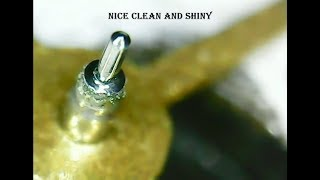 Pivot cleaning/polishing using soft rubber fine grain EVE pin polisher