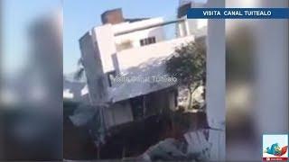 Ante los ojos de su dueño casa se derrumba por obra en Av. Lázaro Cárdenas y Río Nazas Monterrey