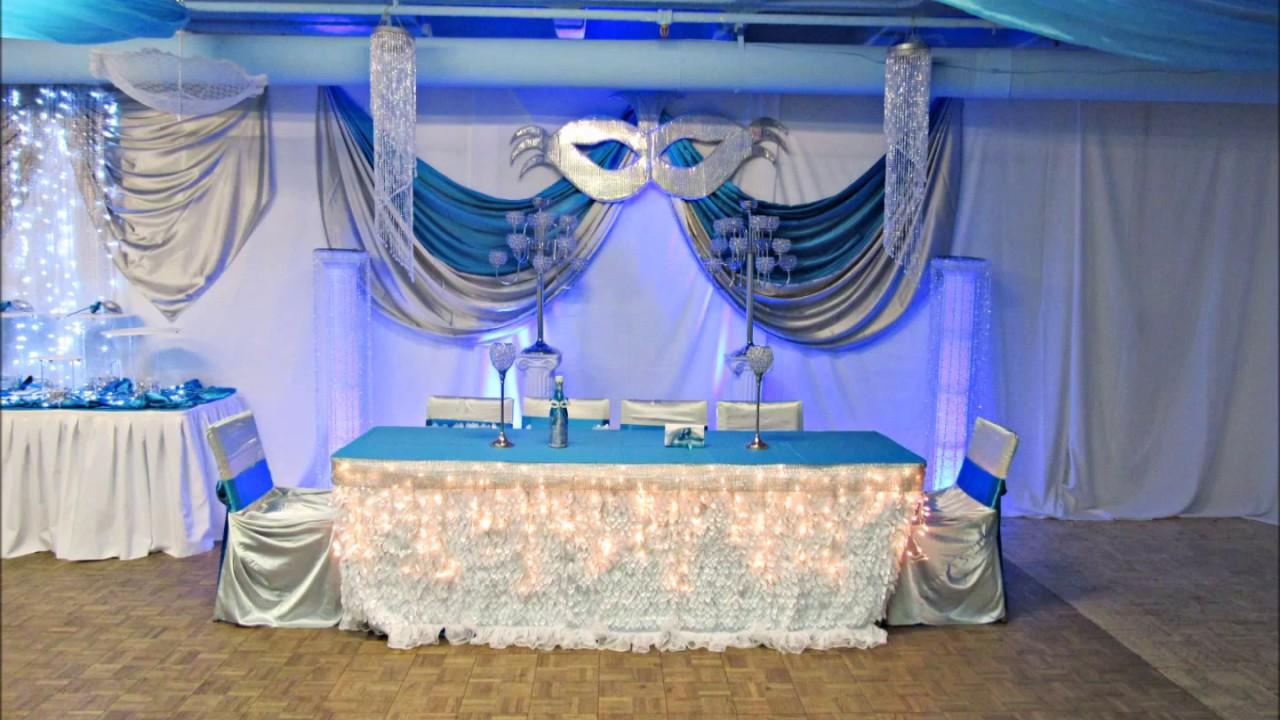 Faos events decoracion azul turquesa y plata youtube for Decoracion salon gris y turquesa