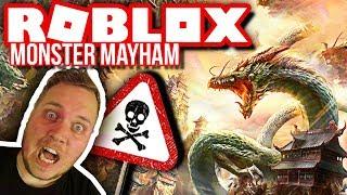 KÆMPE MONSTER SMADRER USKYLDIG LILLE LANDSBY! 🔥 :: Roblox Monster Mayham Dansk